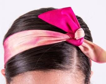 Pink Tie-Dye Tie-Up Headband