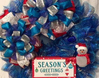 Season Greeting Wreath, Front door Wreath, Wreath for Christmas, Holiday Wreath, Blue and Silver Xmas Decor, Custom Wreath, Christmas Wreath