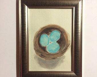 Original robin's eggs watercolor painting