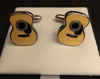 Yellow Acoustic Guitar Cufflinks