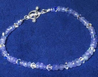 Rare Tanzanite & Swarovski Crystals Sterling  Silver Toggle Bracelet  - December  Birthstone