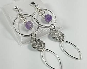 Sterling Silver with Cape Amethyst Earrings