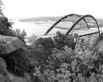 Wall Art Prints, Black and White Photography of the 360 Bridge in Austin, Home and Living, Apartment Decorating, Rustic Decor, Fine Art