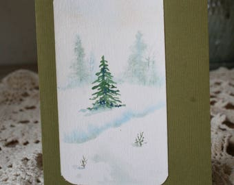 Christmas Card, Original Watercolor Card, Homemade Cards, Hand Painted Greeting Cards