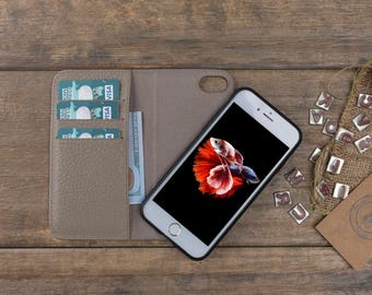 Leather iPhone 7 Case, iPhone 7 Wallet Case, iPhone 7 Card Case, Magnetic iPhone 7 Cover, Detachable iPhone 7 Leather Case, iPhone Case