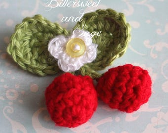 Crocheted Cherry Pin, Brooch, Spring, Gift, Whimsical, Coat Pin, Cherries, White Flower, Crocheted Pin with Button