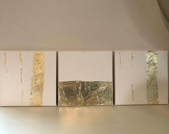 "Set of 3: Original 12"" x 12"" White and Gold Leaf Acrylic Paintings on Stretched Canvas"