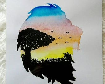 Lion Silhouette, Art print