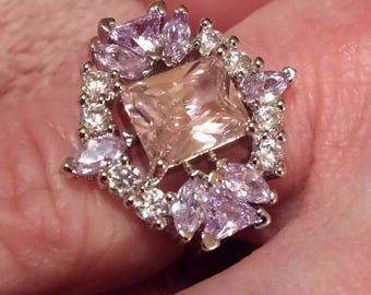Pink, White Topaz & Amethyst Gemstone Sterling Silver Plated Art Deco  Ring, Size  8