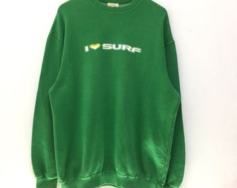 Rare!!! Vintage Gonzo Surf Sweatshirt Big Logo i love Surf Big Print Pullover Jumper Surfing Casual Lifestyle Lo Life
