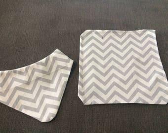 Handmade matching dribble bib and burp cloth sets