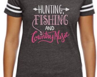 Hunting Fishing and Country Music Jersey Shirt