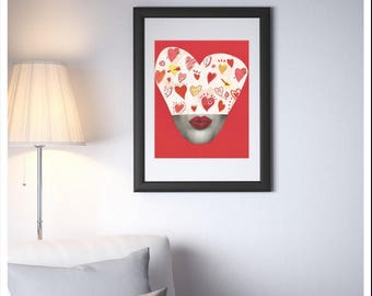 Heart Love Face Collage Art Print