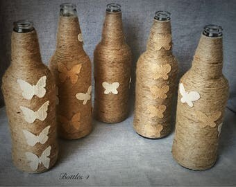 5 * hand crafed twine wrapped bottles