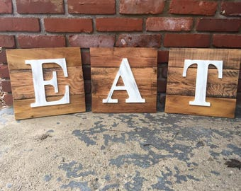 EAT Single Letter Pallet Wood Signs
