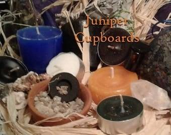 Motivation & Strength Ritual kit: Vanadinite, Clear Quartz, Candles, Herbal Sachet, Resin, Oil, Sage