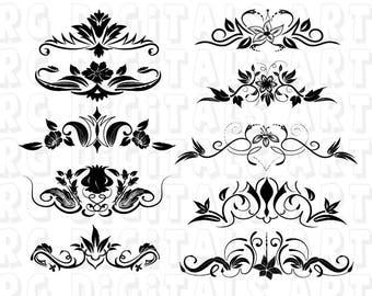 Ornaments Svg, Decorative Elements SVG, Decorative Line Svg, Divider Ornament SVG, EPS Format For Design, Silhouette Cameo, Cricut