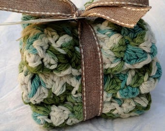 Crochet Cotton Dishcloth gift set of 3, green and blue