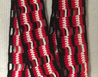 Red, Black and White Stripe Scarf