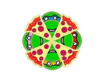 "Ninja Turtle Pizza applique machine embroidery design- 2 sizes 4x4"", 5x7"""