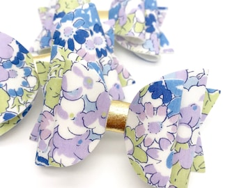 Liberty lilac purple flowers floral fabric Medium hair bow clip headband hair accessories