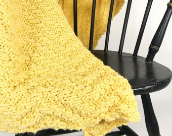 Vintage Yellow Cable Knit Blanket | Hand Knit Blanket | Throw Blanket | Soft Blanket | Cable Knit Throw