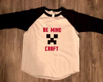 Be minecraft Valentine's Day shirt, minecraft, Be mine, Boys Valentines shirt