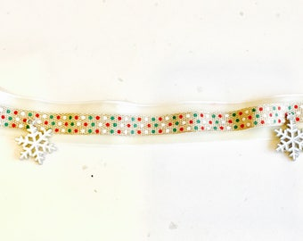 Velvet, and burlap Christmas holiday choker necklace