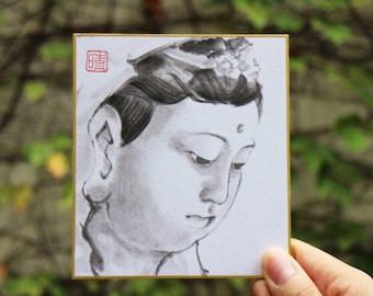 Tradition Chinese Ink Painting, Original Painting, Sumi-E Avalokiteśvara