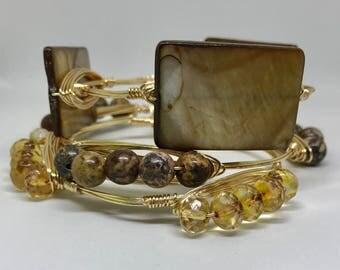 Brown Wire Wrap Bangle Bracelet Set
