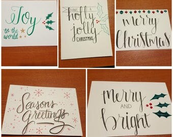 5-Pack of Handlettered Christmas Cards