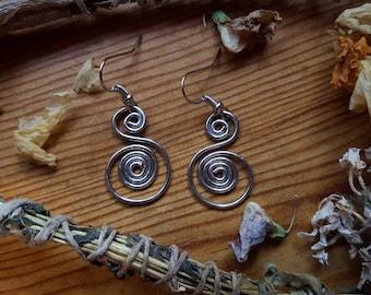 Swan Spiral Dangle Earrings