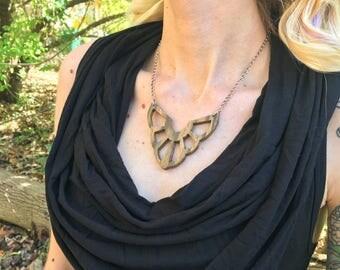 Bocote Wood Statement Necklace - Kali Lotus, Silver Wood Bib Necklace, Boho Statement Necklace, Festival Neckalce, Unique Gift
