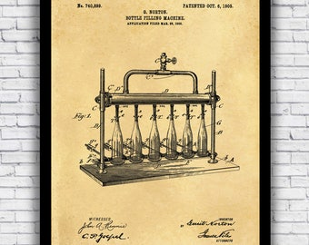 Beer Bottling Patent Vintage Diagram - wall art print (w/ optional frame)