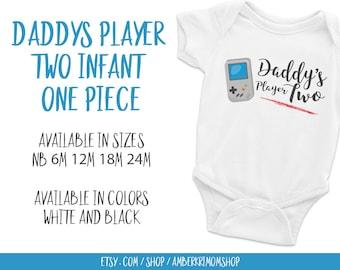 Baby Bodysuit, Baby One-Piece, Cute Infant Bodysuit, Daddy's Player Two Infant Bodysuit, Daddy's Player Two Infant One-Piece White