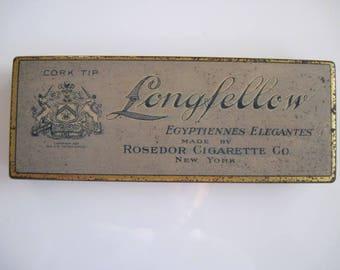 Longfellow Cork Tipped Egyptian Elegantes cigarette tin (10/empty) by Rosedor Cigarette Co, New York