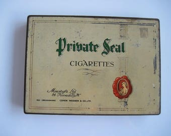 Private Seal Cigarette Tin (50/empty) by Cohen Weenen Co Ltd on behalf of Moustaffa Ltd c.1920