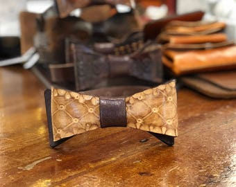 Leather bow Tie