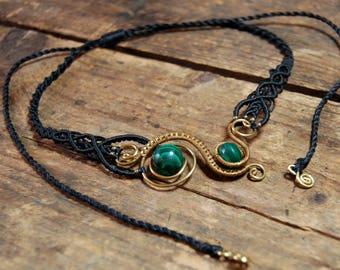 Wire and macramé necklace / Malachite / womens choker / bib / brass / gemstone / abstract jewellery