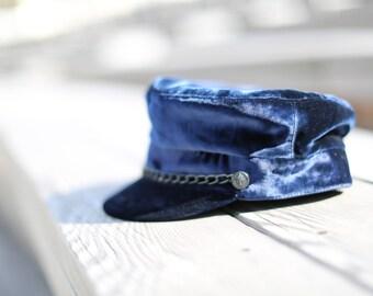 Women peaked cap, Women chic hat, Women velvet cap, Women velvet hat, Velvet peaked cap, Women captain's cap, Fisherman cap, Military hat