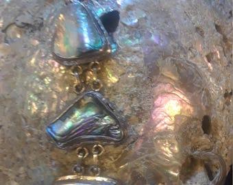 Fabulous abalone and sterling mermaid bracelet