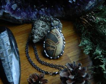 Dragon's breath - Septarian cabochon pendant necklace.