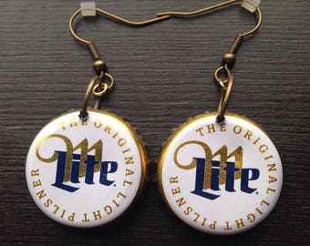 Miller Lite Beer BottleCap earrings