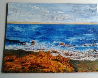 Oil Painting Seascape Bar Beach Sunrise