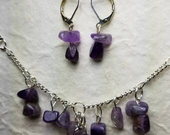 Amethyst chip necklace and earrings
