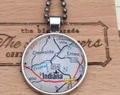 Indiana, PA  Vintage Map Pendant