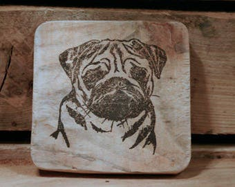 Set of 4 wooden coasters - pug