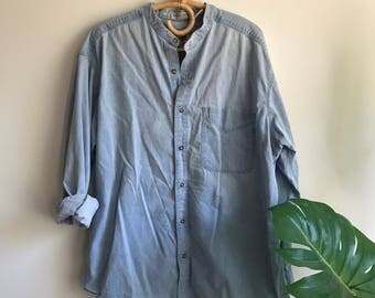 Vintage Plus Sized Washed Denim Shirt XL