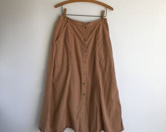 Vintage Brown Long Skirt Button Up Skirt / Field Skirt Size Medium Maxi Skirt
