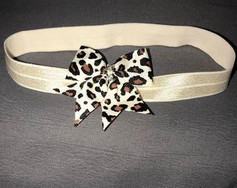 0-6 month stretchy headband, handmade, cheetah